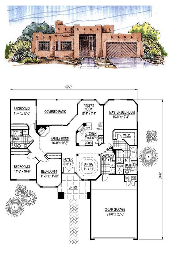 Southwest Style House Plan 54678 With 4 Bed 2 Bath 2 Car Garage Southwest House Adobe House Spanish Style Homes