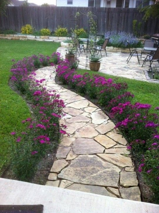 Gracie's Garden - purple passion #landscaping #walkway #landscaping Front Walkway Landscaping, Front Yard Walkway, Flagstone Pathway, Paver Walkway, Garden Paving, Stone Walkway, Garden Stones, Backyard Landscaping, Front Garden Path #flagstonepathway