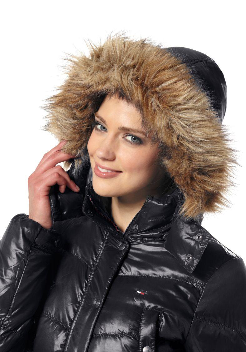 Black Fur Hooded Tommy Hilfiger Down Coat Down Coat Puffy Jacket Down Puffer Coat [ 1126 x 788 Pixel ]