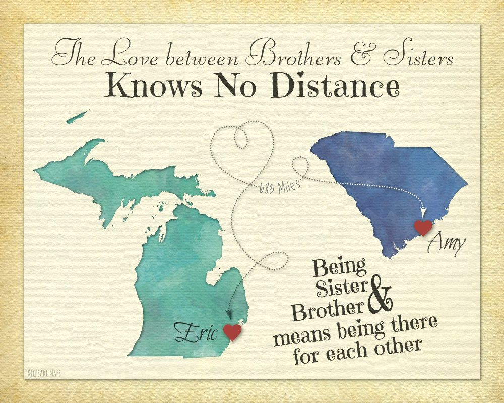 Long distance gift for brother sister going away gift print long distance gift for brother sister going away gift print birthday gift idea for sister brother choose your places map art negle Gallery