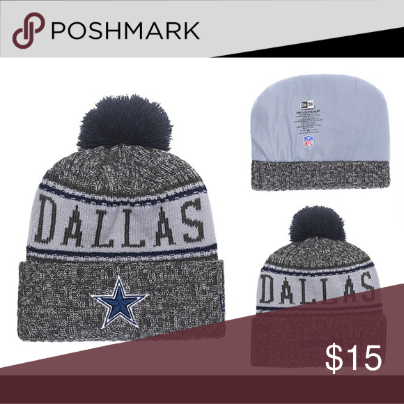 NFL Dallas Cowboys Beanie Material  100% Acrylic Cuffed Embroidered  graphics One size fits most Pom on top Tagless Woven graphics Hand wash 2cefec98e
