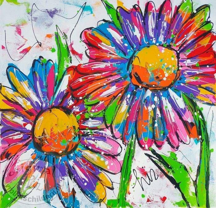 Vrolijk schilderij dieren abstract schilderij bloemen for Schilderijen van bloemen