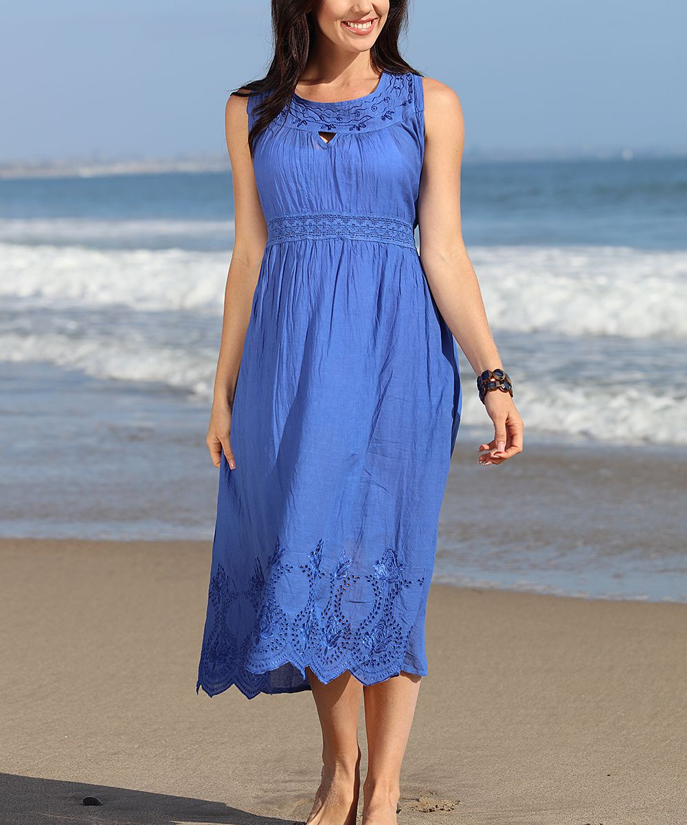 Blue Sheer Embroidered Sleeveless Maxi Dress