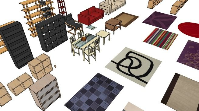 Ikea various furniture 3d warehouse sketchup for Outdoor furniture 3d warehouse