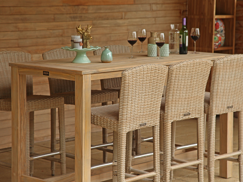 Barset voor in de tuin met teakhouten tafel en gevlochten for Teakhouten tafel