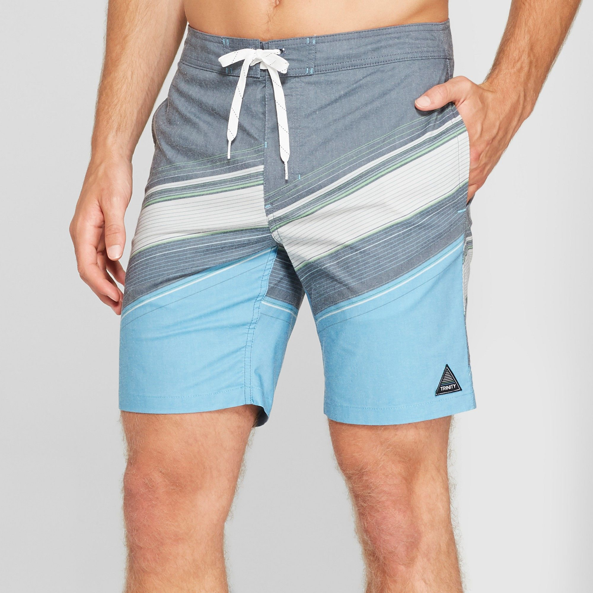 ff74eecdee Trinity Collective Men's Striped 8.5 Digger Board Shorts - Blue 40 ...