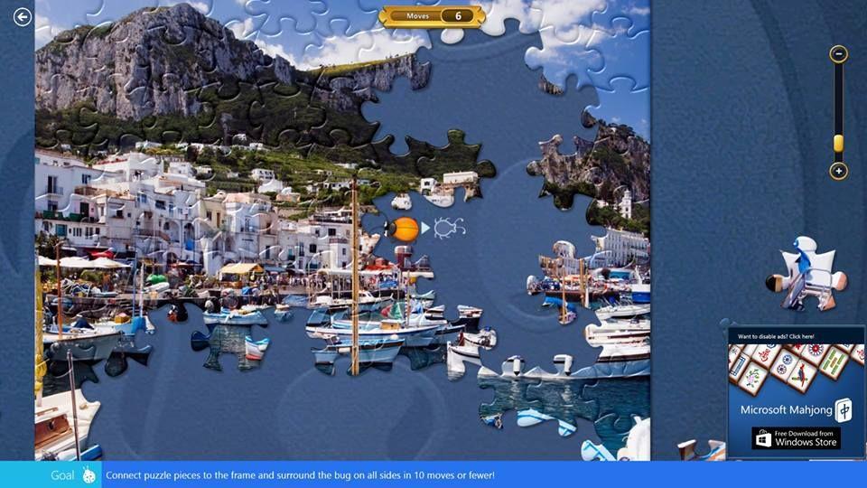 Microsoft Jigsaw Bug Catcher tip No 1: This screenshot shows