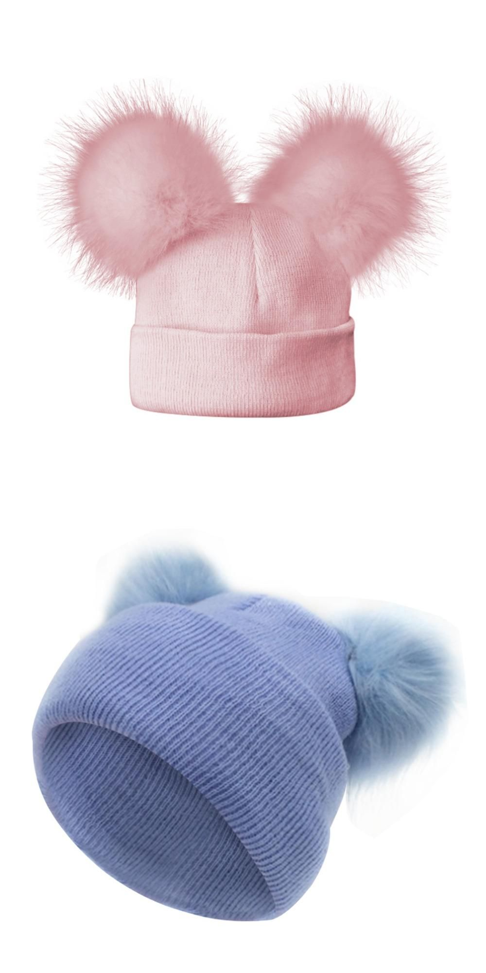 0b2f6a3e1 2017 Cute Baby Faux Raccoon Hat Double Fur Pom Pom Cotton Knitted ...