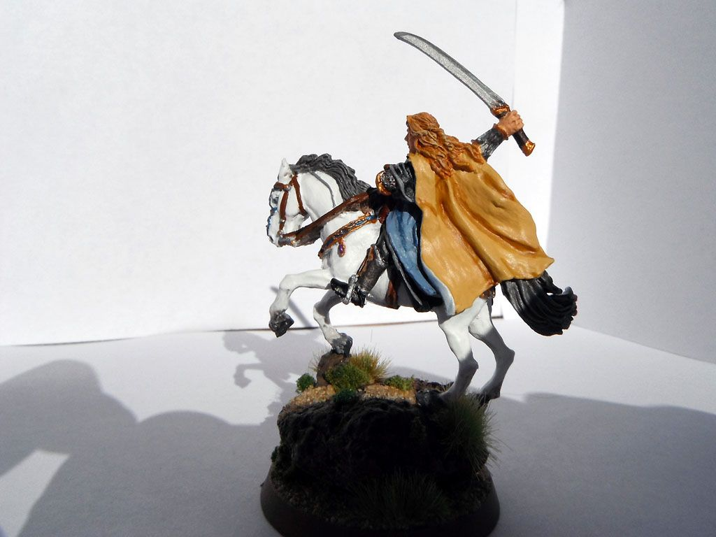 Completed Glorfindel on Asfaloth - Adeptus Mile High - back view showing cloak