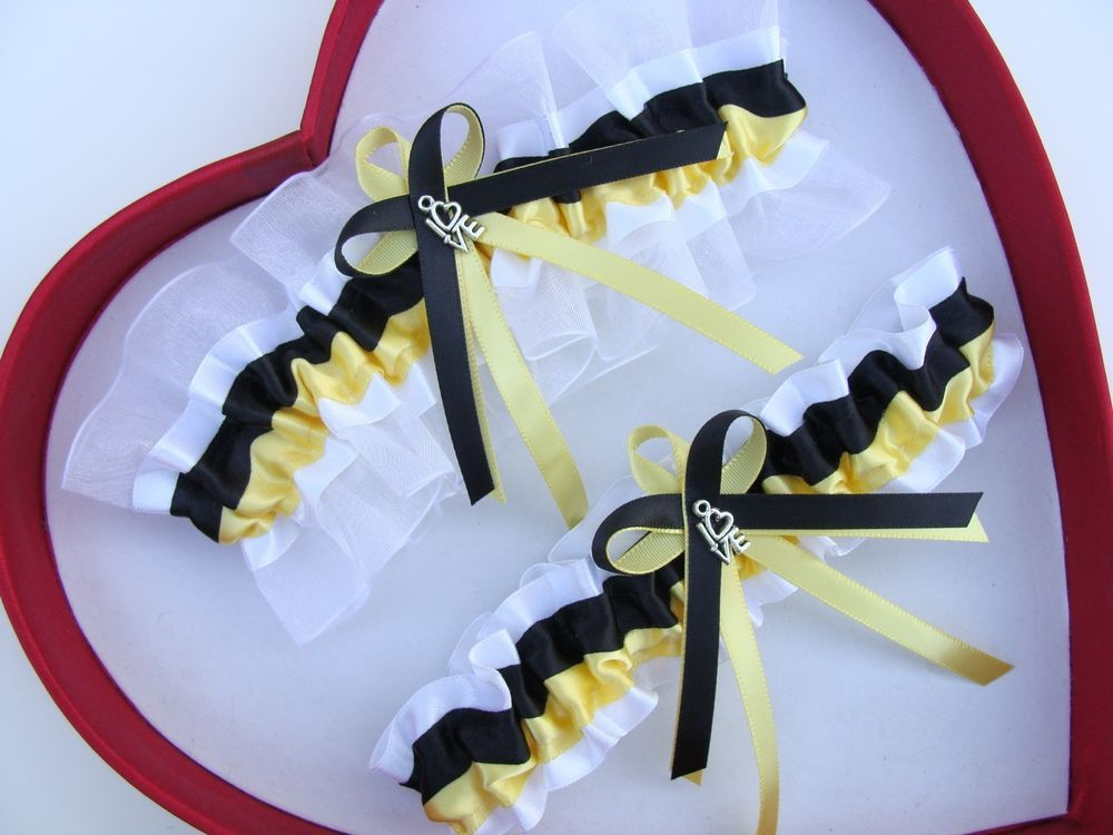 NEW  Hot Wedding Garter Prom Silver Navy White GetTheGoodStuff Heart Homecoming*