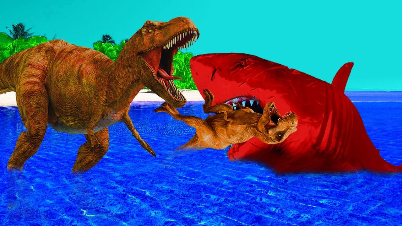 shark vs dinosaurs fighting 3d dinosaur shark cartoons for children