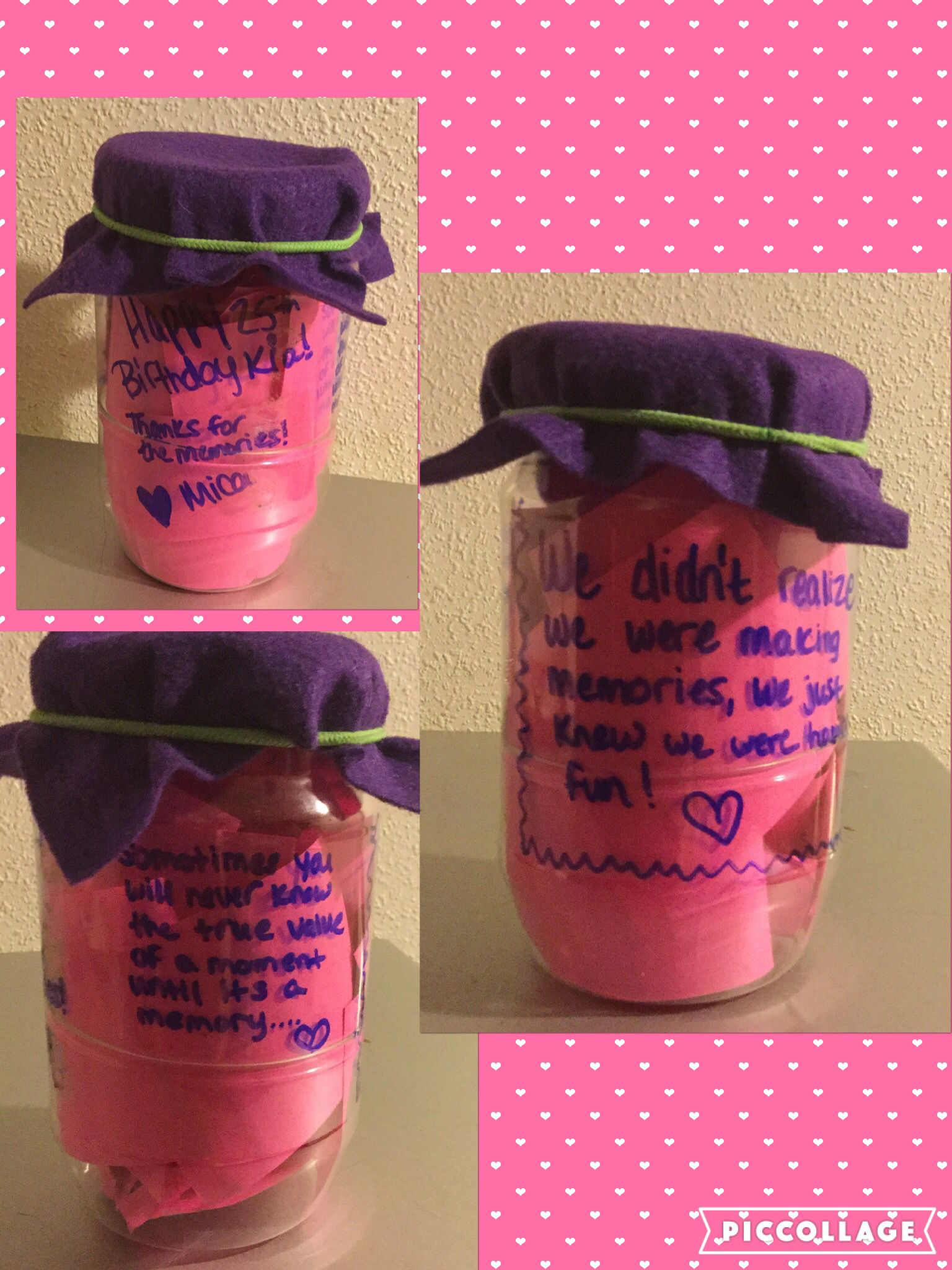 Cheap easy thoughtful gift....post it notes and memories in a jar!! Happy birthday or anniversary