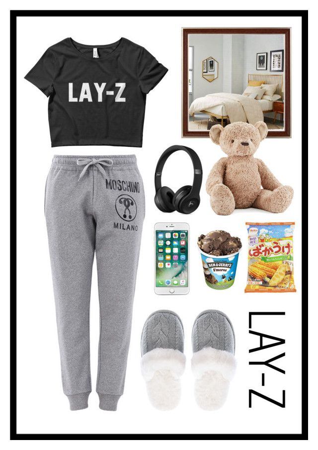 """""""Lay-z Day"""" by stella-patricia ❤ liked on Polyvore featuring Moschino, Victoria's Secret, West Elm and Jellycat"""