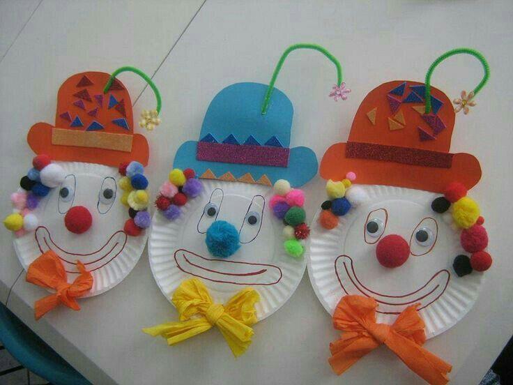 Clown Crafts Circus Crafts Carnival Crafts Faschingsdeko Kindergarten Paper Plate Crafts Paper Plates Winter Nails Clowns Daycare Crafts & Pin by Lizette Shmueli on ????? | Pinterest