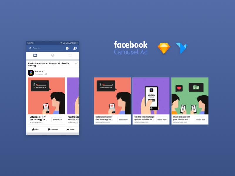 Facebook Carousel Ad Mockup Social Media Mockup Facebook Mockup Facebook Carousel Ads