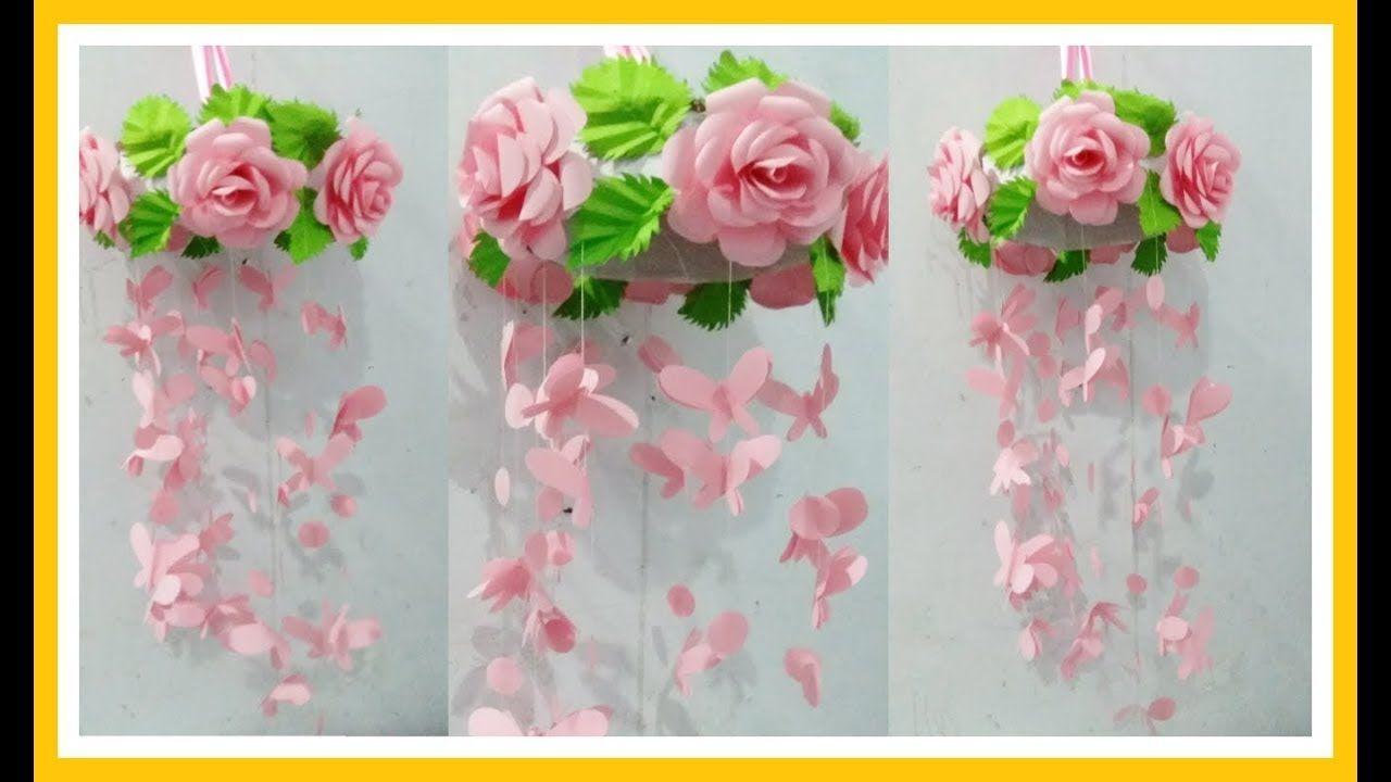 Cara Membuat Hiasan Gantung Bunga Mawar Dan Kupu Kupu Pembuatan Perhiasan Ide Kerajinan Hiasan