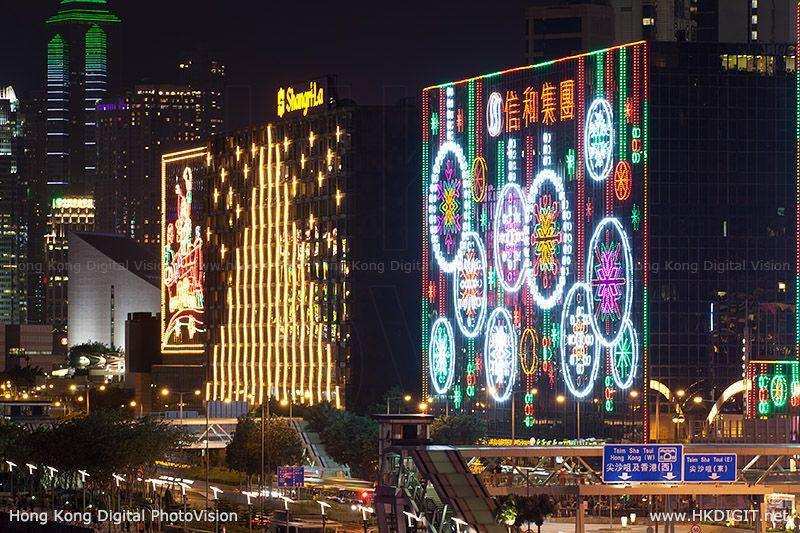 Christmas Lights In East Tsim Sha Tsui Hong Kong (hkdigit 20131201 183234)
