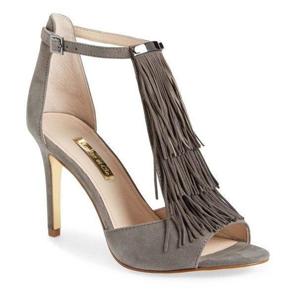 "Louise et Cie 'Kayla' Fringe Sandal, 3 1/2"" heel (€48) ❤ liked on Polyvore featuring shoes, sandals, heels, pompeii grey suede, open toe high heel sandals, suede fringe sandals, grey suede shoes, high heel shoes and fringe sandals"
