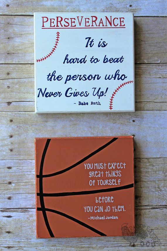 2 Sports Signs Motivational Famous Athletes Quotes Hand Painted Vintage