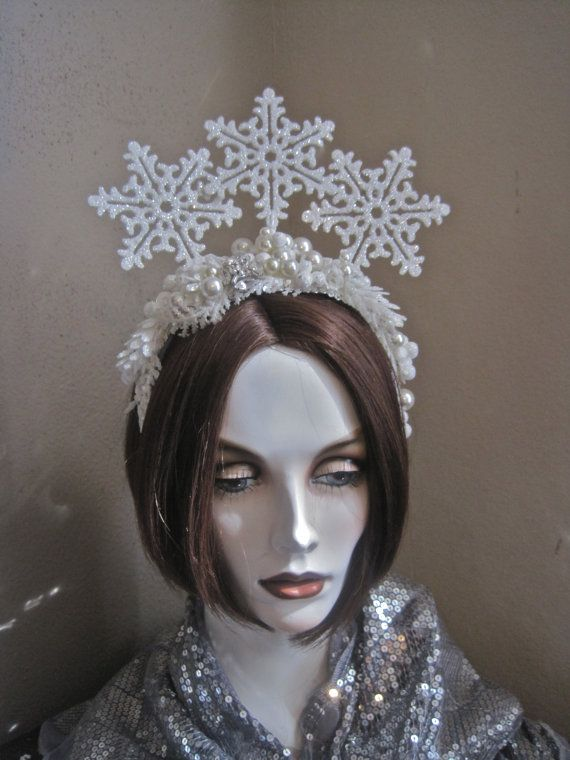 Snow Queen Crown Tiara Headpiece Ice Princess by MorticiaSnow