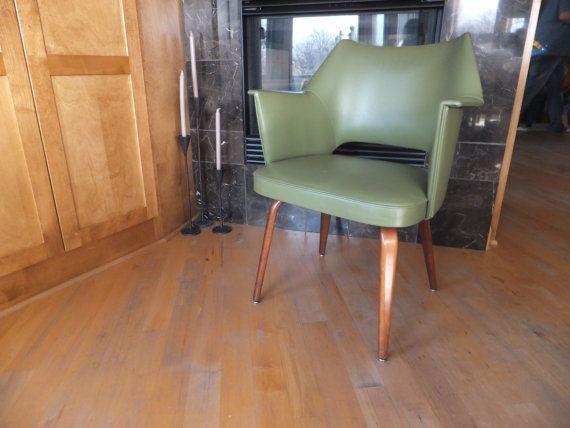 Thonet Arm Chair Danish Office Scoop Vinyl Upholstered Wood Leg