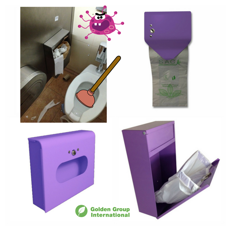 Lavender Sanitary Napkin And Tampon Disposal Bags Dispensers By Golden Group International Colored Units Help To Draw Attention Proper