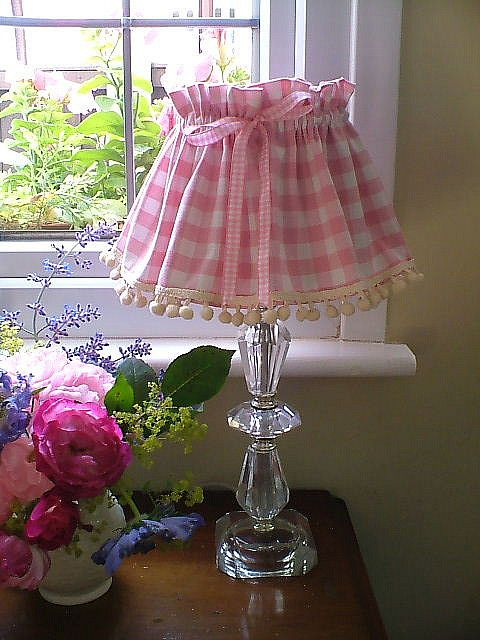 Pink gingham and pompoms pink gingham gingham and cottage style pink gingham and pompoms lampshade aloadofball Images