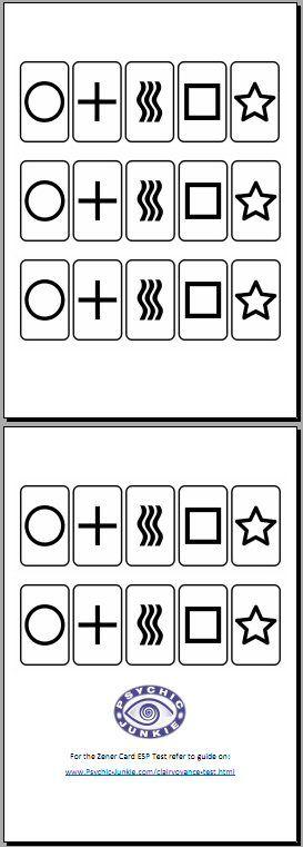 Print your own Zener ESP Test Cards | Psychic Junkie Website | Test