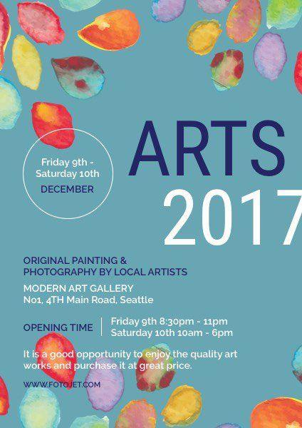 Artshow Flyer Watercolor Petals Art Show Flyer Template Flyer