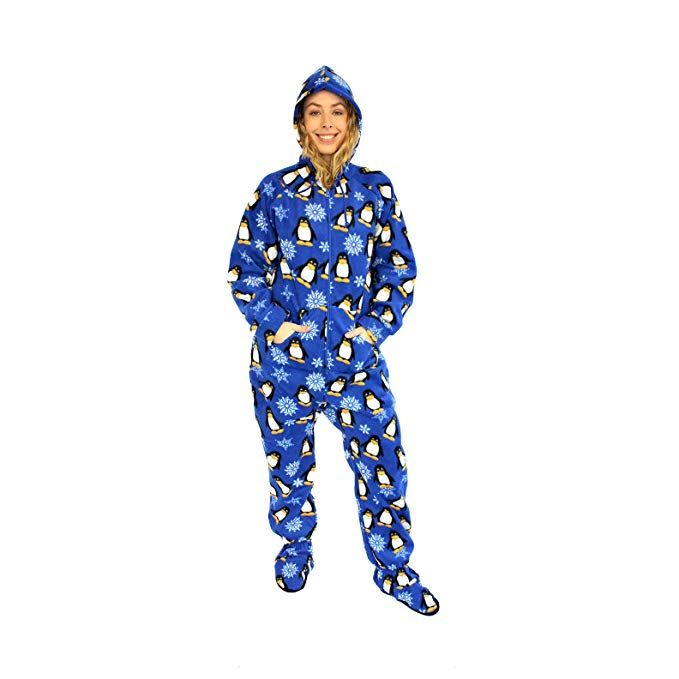 4e61c3ffc3 The Snooze Shack Fleece Footed Pajamas with Drop Seat Bottom - Winter  Penguin Review