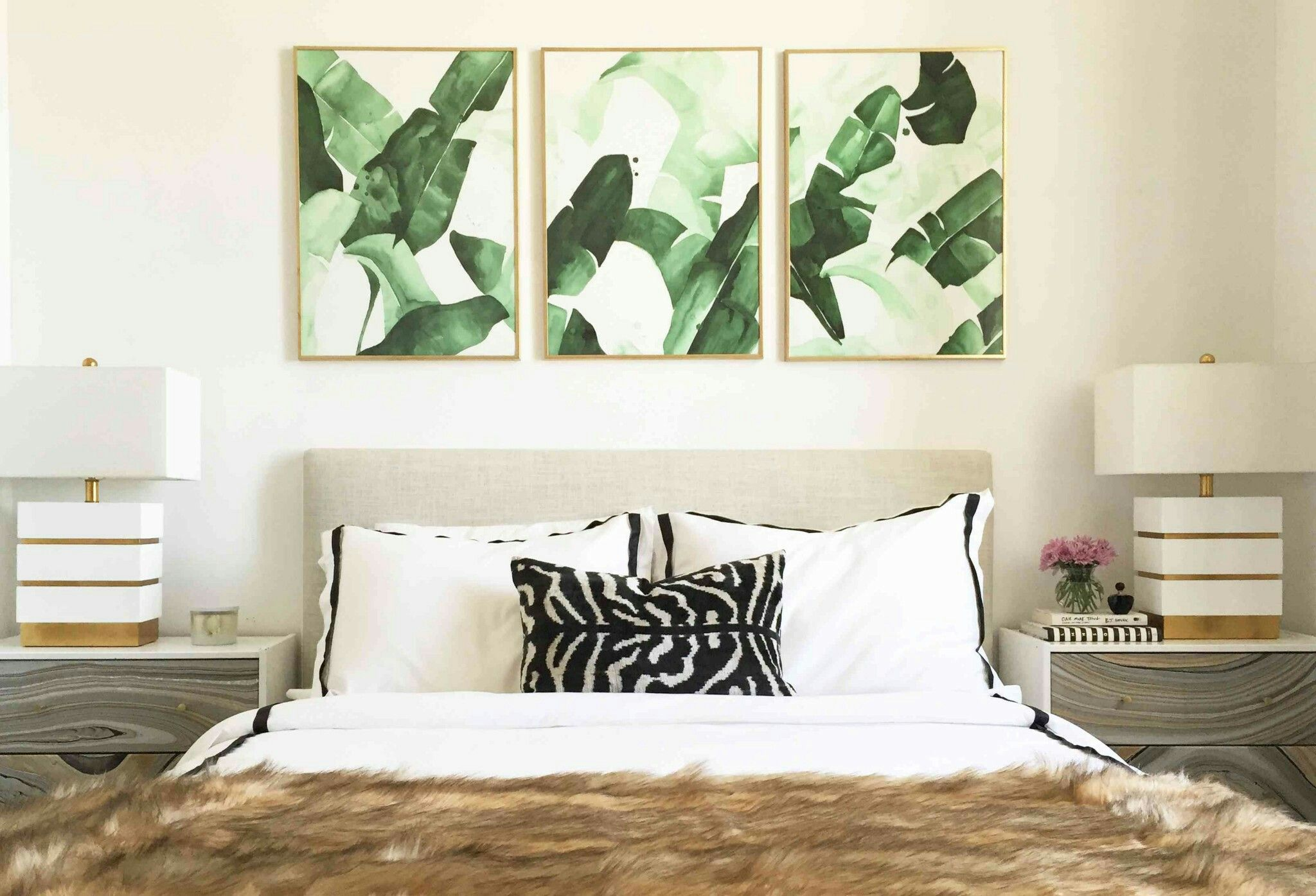 Sections Of Banana Leaf Wallpaper As Art Triptych