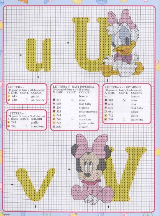 Mickey and friends abc 15 17 punto de cruz punto de for Alfabeto disney a punto croce