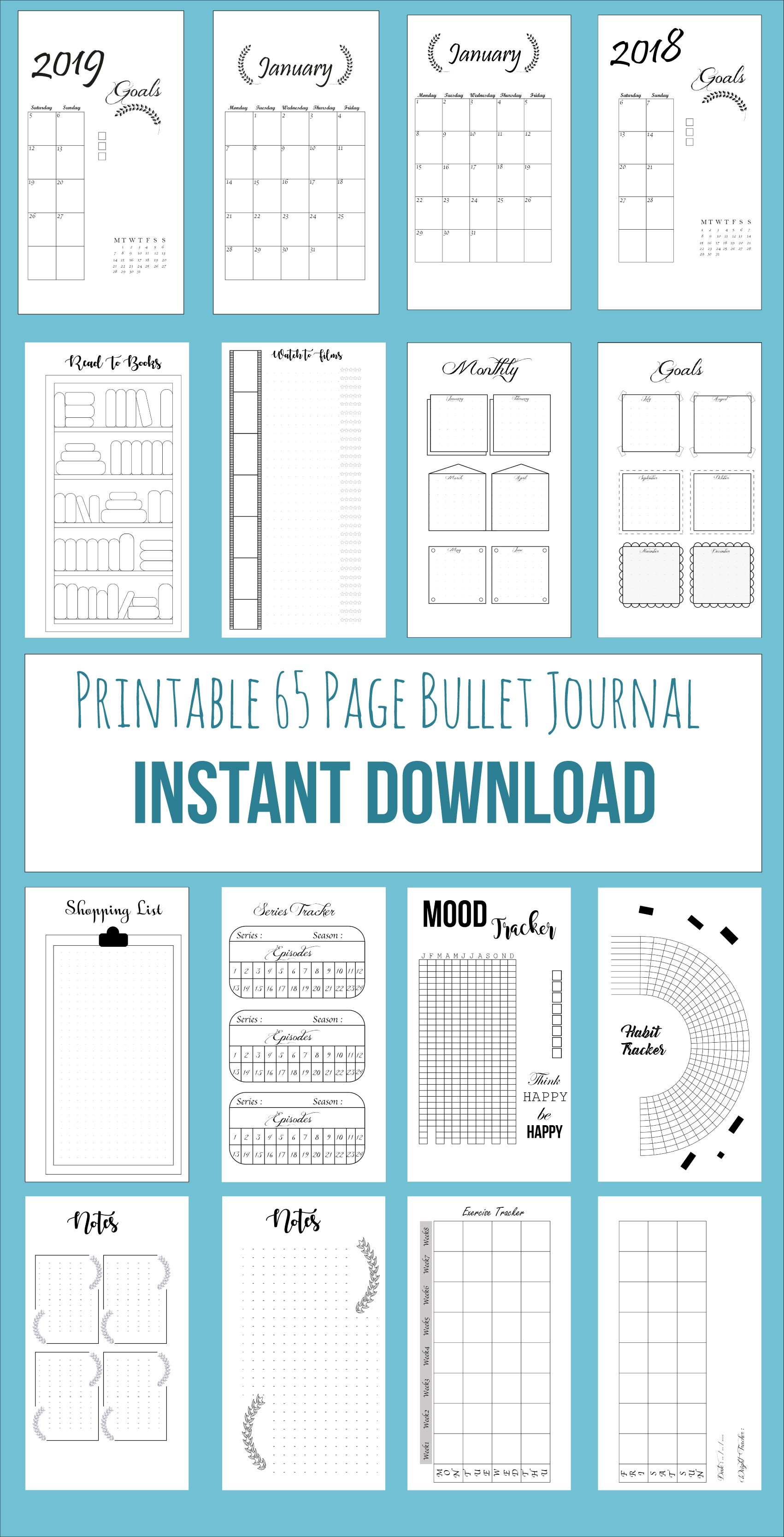 Bullet Journal Printable,76 Pages Bujo, Bullet Journal Template, Printable Calendar, 2018 Calendar, Notebook Inserts, Bullet Journal Planner #birthdaymonth