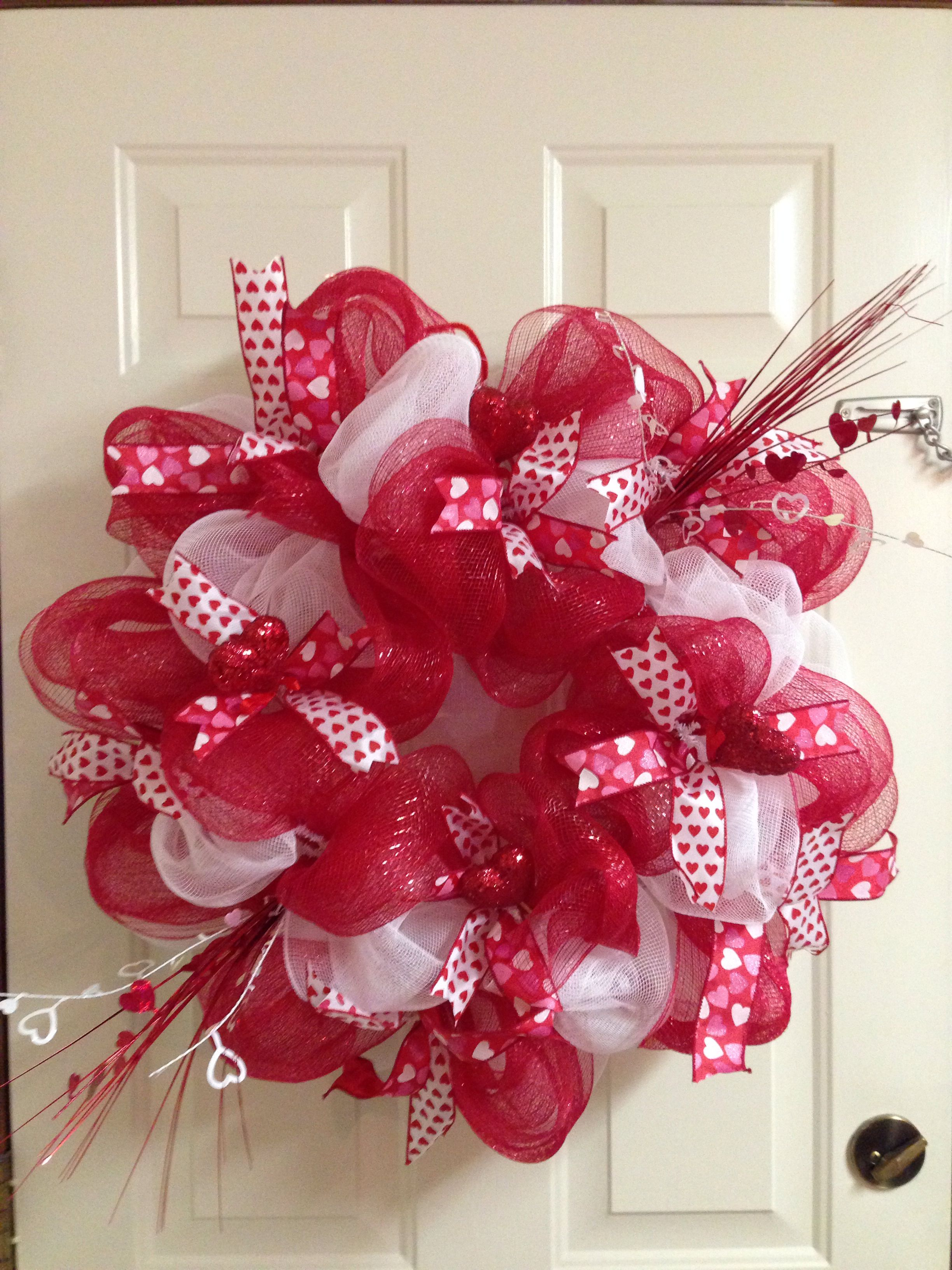 Valentine S Day Deco Mesh Wreath Fun With Crafts Pinterest