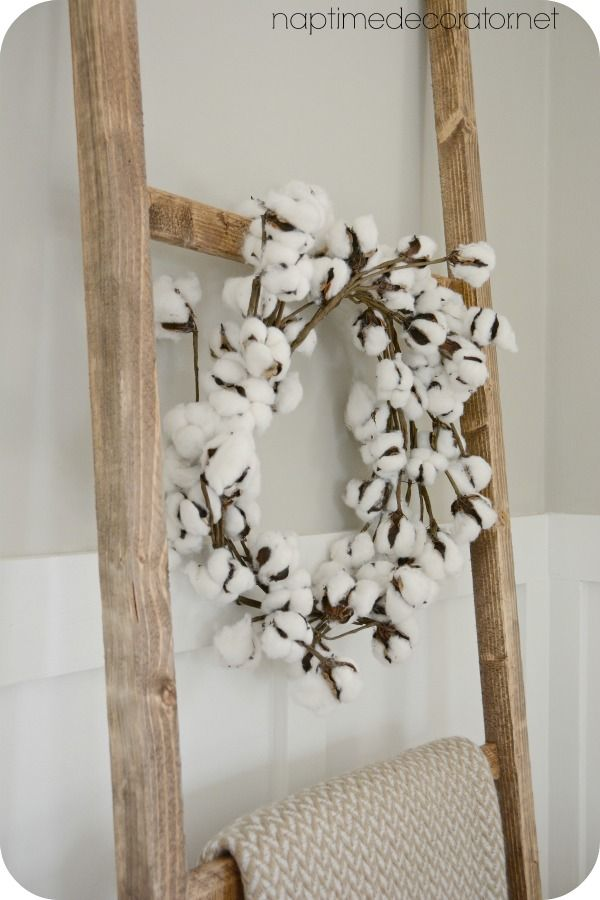 Easiest Diy Cotton Wreath Ever And Another Ladder Metal Tree Wall Art Metal Tree Tree Wall Art Diy