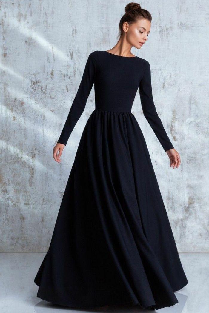 c848cd86c8dc ▷ 1001 + idées de tenue féminine avec robe longue noire