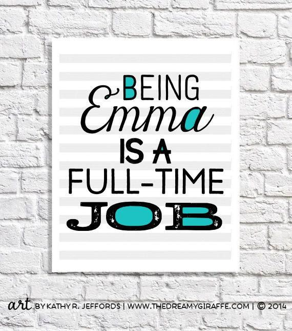 Personalized Girl Gift Emma Name Art Print 11 Year Old Girl Gift Idea 11th Birthday Present Unique Teen Christmas Gifts Under 25 Sassy Quote
