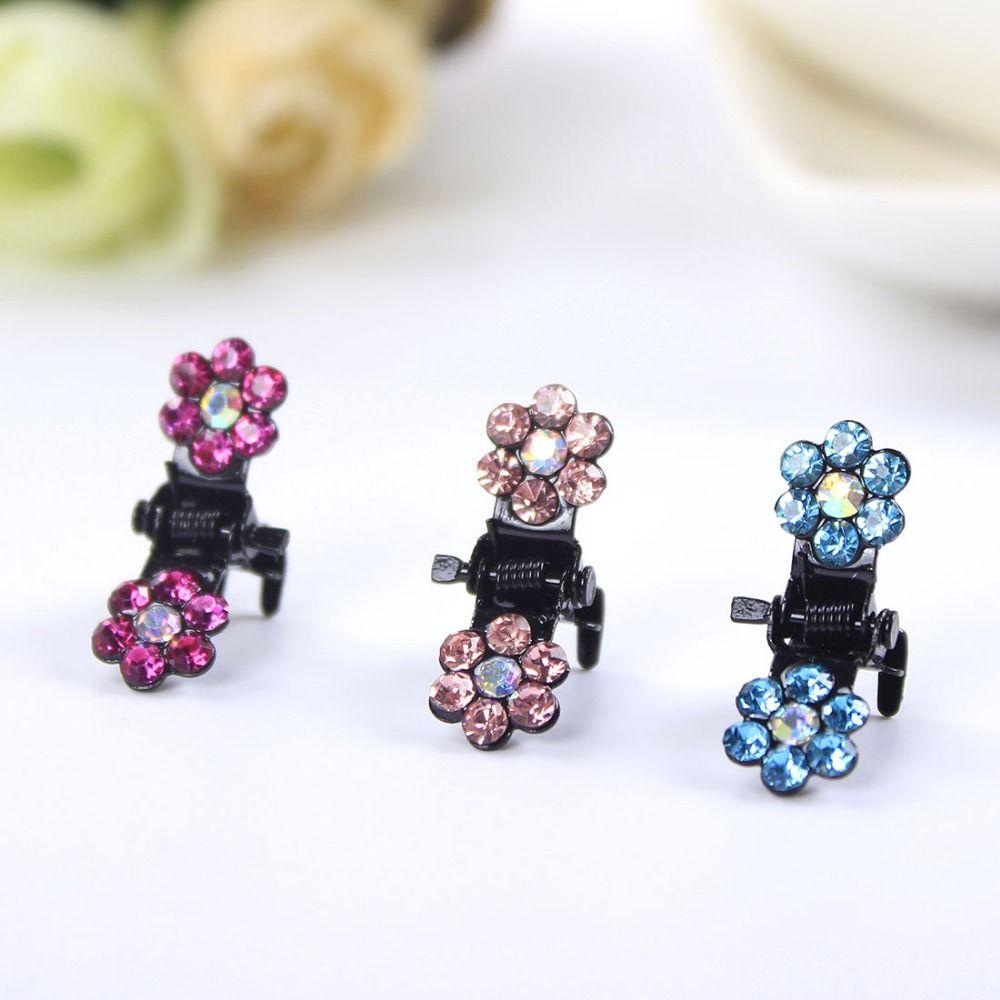 Leuke Kleurrijke Zirconia CZ Diamond Pruim Vijf Bloem Haar Klauwen Babys Meisjes Haarspeld Haar Clips Haaraccessoires voor Vrouwen Hoofddeksels