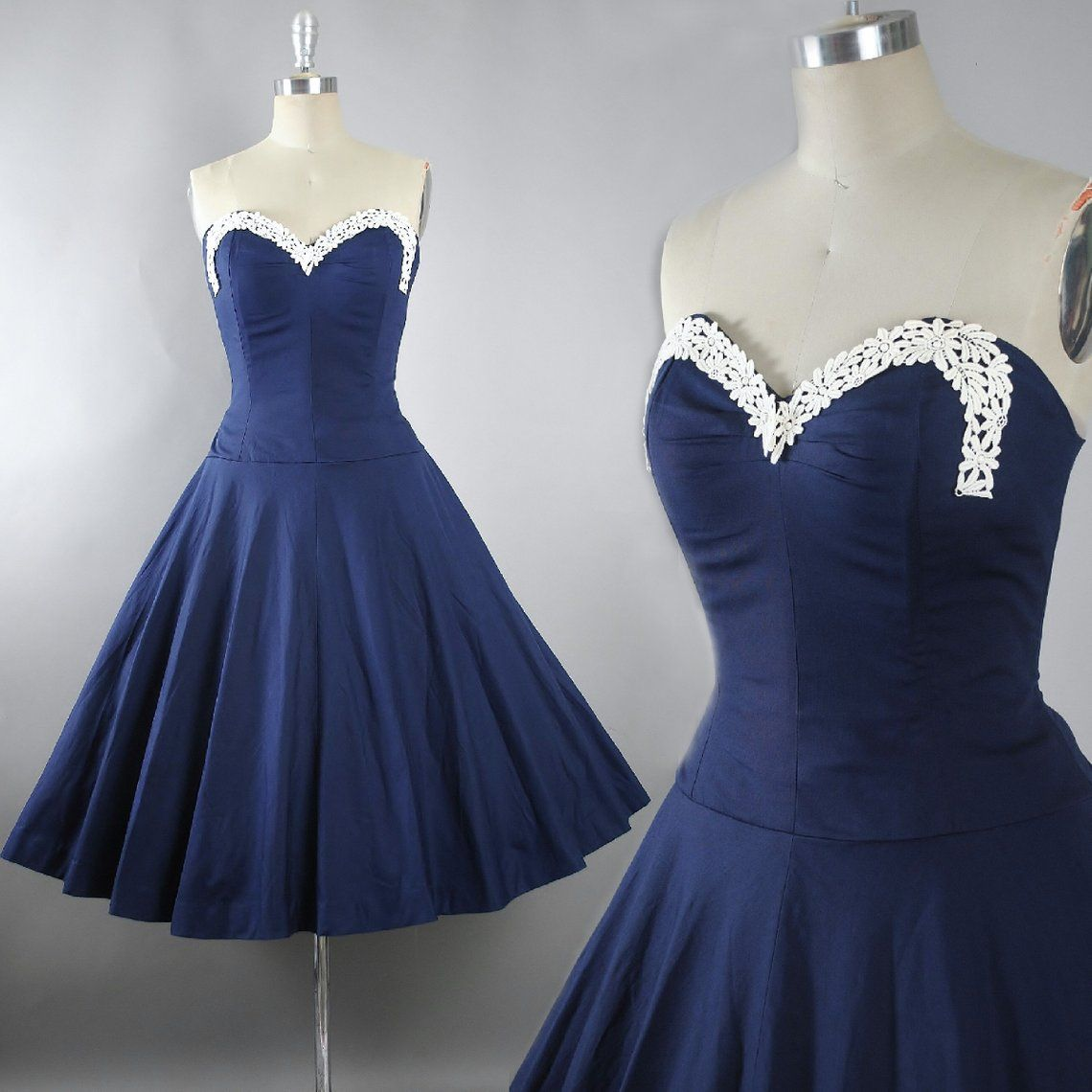 Vintage 1950s Dress / 50s Cotton Sundress NAVY Blue