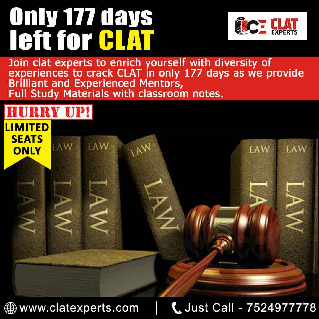Only 177 Days Left For Clat Join Clat Experts To Enrich Yourself With Diversity Of Experiences To Cra Study Materials Interactive Learning Coaching Program