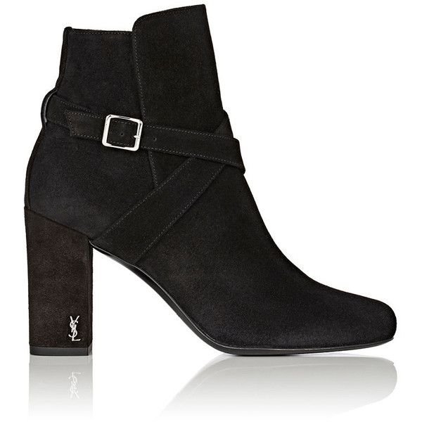 Saint Laurent Women's Babies Suede Ankle Boots (15.470 ARS) ❤ liked on Polyvore featuring shoes, boots, ankle booties, ankle boots, black, black bootie, block heel booties, high heel boots, black high heel booties and suede booties