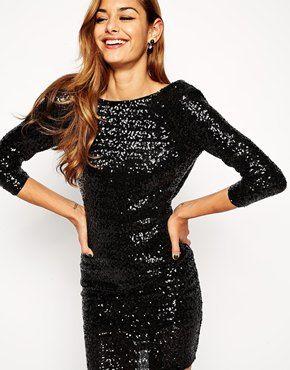 Enlarge ASOS Sequin Cowl Back Mini Dress