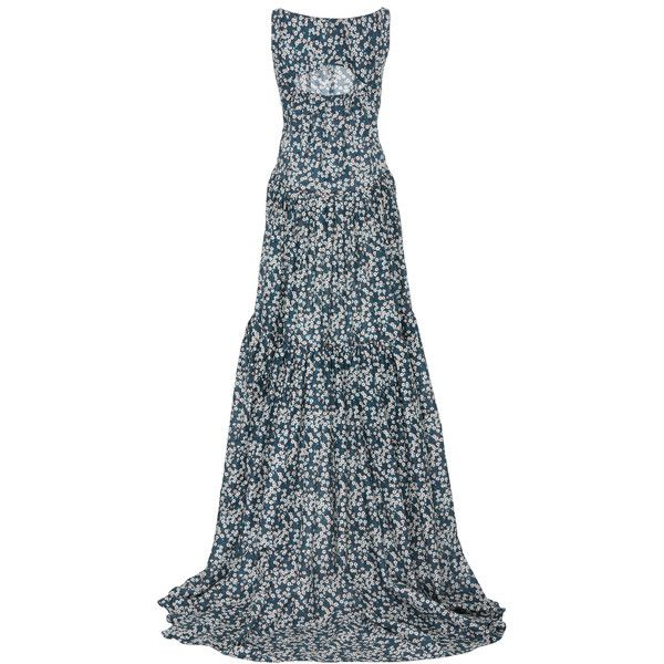 Zac Posen     Liberty Print Gown ($2,490) ❤ liked on Polyvore featuring dresses, gowns, floral ball gown, cotton floral dress, blue cotton dress, floral print evening gown and floral evening gown