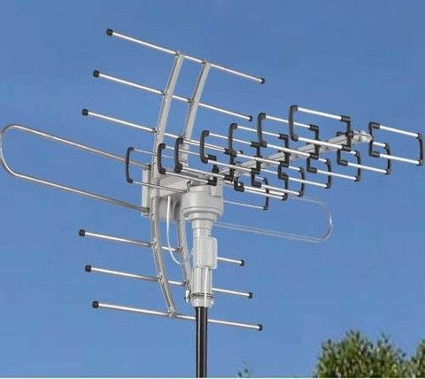 Hdtv Outdoor Attic Amplified Antenna 36db Rotor Remote 360 Uhf Vhf Fm 150 Miles Tv Video Audio Access Outdoor Tv Antenna Tv Antenna Diy Tv Antenna