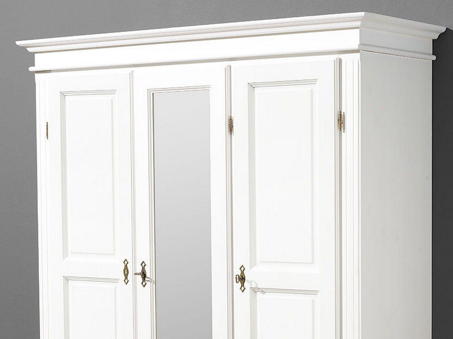 Kleiderschrank Dielenschrank Fichte Massiv Weiss Lassiert 3 Mit
