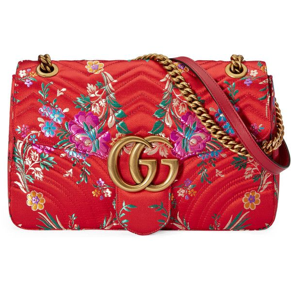 e059b3ae6202 Gucci Gg Marmont Floral Jacquard Shoulder Bag ($1,790) ❤ liked on Polyvore  featuring bags, handbags, shoulder bags, borse, gucci, red, chain shoulder  bag, ...