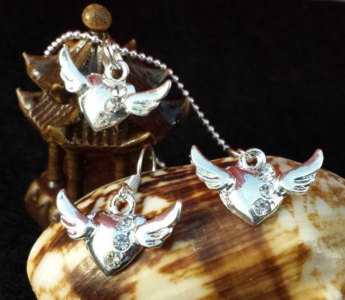 Rhinestone-Heart-Wings-Charm-Pendants-Earring-necklace-set-Chain-925-silver