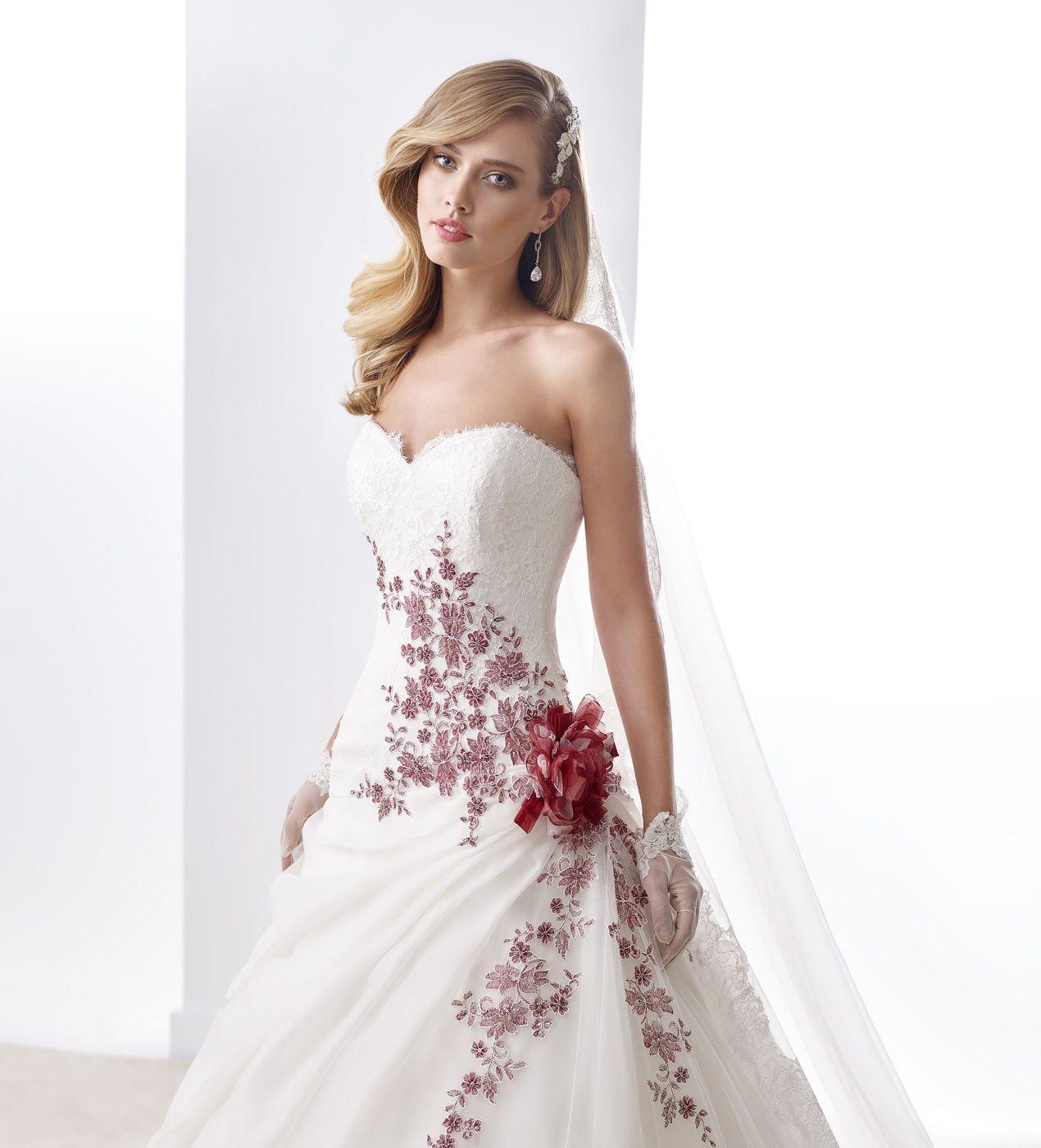 Abito Da Sposa Nicole Collezione Jolies Joab16468 2016 Colored Wedding Dresses Wedding Dresses Red Wedding Dresses [ 1400 x 1270 Pixel ]