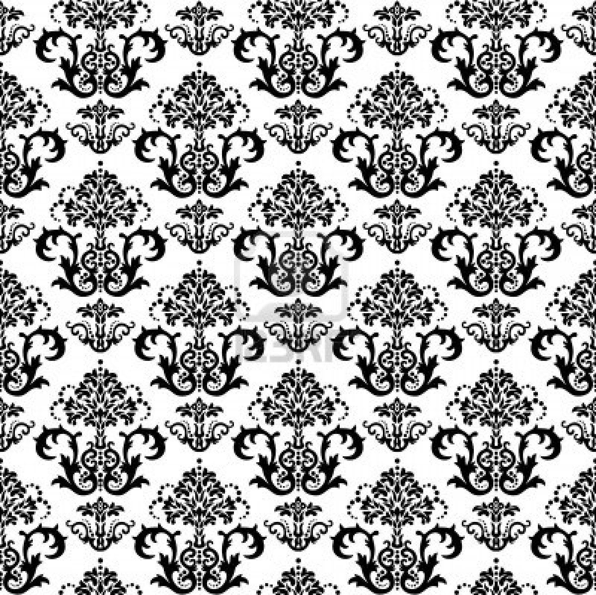 Seamless Black And White Fl Damask Wallpaper