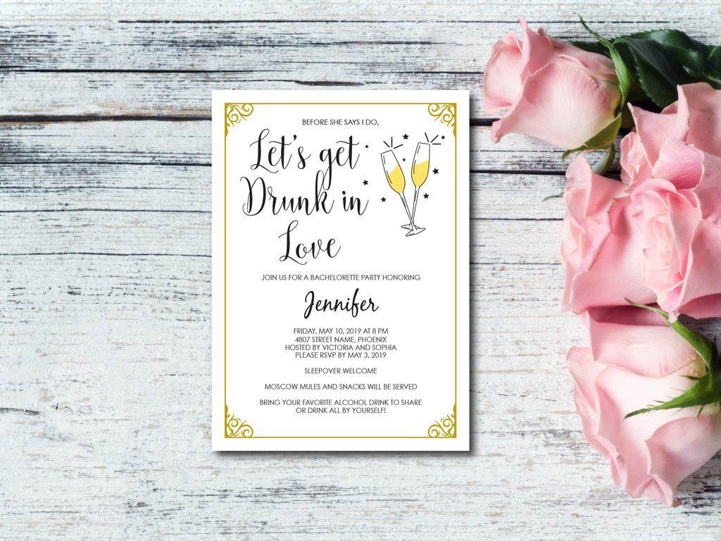 bridal shower invitations registry etiquette%0A Let u    s Get Drunk in Love Bachelorette Invitation  E   A